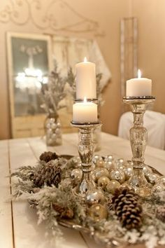 Mercury Glass. Pretty Centerpiece with Candles
