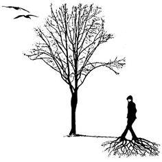 """(Dessin de Charles Montpetit) """"Il faut que l'arbre soit à demi arraché pour que ses racines - plongées habituellement dans la nuit - deviennent conscientes et sensibles."""" (Gustave Thibon, """"L'ignorance étoilée"""", 1974)"""