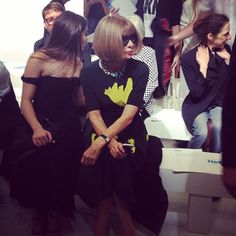 Looks who's just arrived on the front row! #AnnaWintour #topshopunique #topshopwindow