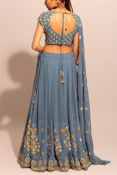 Blue Grey Gota Lehenga Set with Unstitched Blouse Party Wear Lehenga, Bridal Lehenga Choli, Indian Lehenga, Wedding Lehnga, Half Saree Designs, Lehenga Designs, Saree Blouse Designs, Indian Bridal Fashion, Indian Wedding Outfits