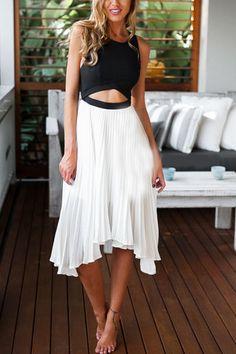 Color-block Cut Out Asymmetrical Dress