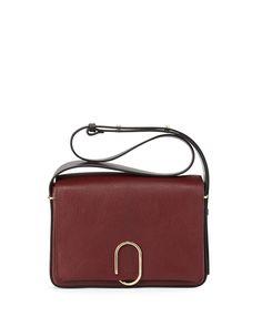 Alix Flap Shoulder Bag, Burgundy/Black
