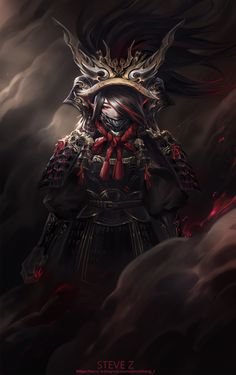 Hope you can like it! Oni Samurai, Female Samurai, Fantasy Armor, Dark Fantasy, Fantasy Character Design, Character Art, Female Demons, Samurai Artwork, Ninja Art
