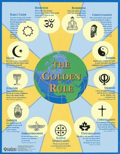 """A summary of all the major world religions....the motto from my interfaith seminary school, """"prays well with others""""."""