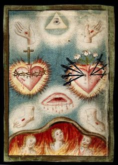 Five Wounds and Sacred Heart of Christ, Immaculate Heart of Mary, Eye in Triangle and Glimpse of Hell.
