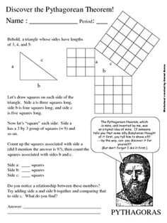 How did Pythagoras come up with his Pythagorean Theorem for Right Triangles? I've thought about teaching math at a higher level someday. Teaching Geometry, Teaching Math, Math Teacher, Math Classroom, Junior High Math, Fun Math, Math 8, Math Literacy, Pythagorean Theorem
