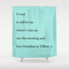 Shower Curtain -  Breakfast at Tiffany's Shower Curtain - Quotes - Aqua Blue - Tiffany Blue - Typography - Teen Room Decor - Glamour Decor -...