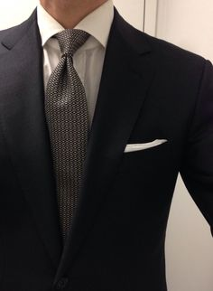 Simple. Kent Wang custom charcoal suit Borrelli FC Ralph Lauren Purple Label seven fold tie (and the rare double FIH) Thrifted hand rolled white cotton PS Creed Orange Spice