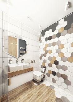 Hexagon Mosaic Tile Bathroom Lovely 60 Stylish Hexagon Tiles Ideas for Bathrooms White Bathroom Tiles, Bathroom Colors, Bathroom Flooring, Colorful Bathroom, Bathroom Ideas, Bathroom Mirrors, Wooden Bathroom, Bathroom Designs, Budget Bathroom