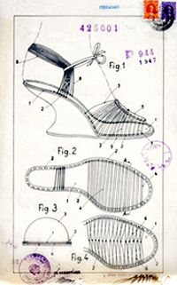 1947  Process for making footwear with an upper in transparent thread.  image courtesy museo salvatore ferragamo
