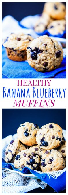 Healthy Banana Blueberry Muffins -  are soft and fluffy, plus packed with fruit and whole grains