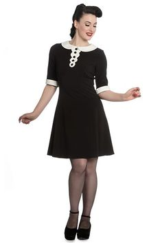 The Magpie Mini Dress by Hell Bunny is perfect to help achieve the Mad Men style or Wednesday Addams! The black A-line mini dress has a bright white P Short A Line Dress, Short Dresses, Dresses For Work, Bunny Outfit, Mad Men Fashion, Rockabilly Fashion, Rockabilly Style, Mini Vestidos, Mini Shorts