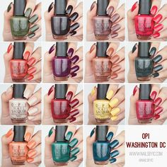 OPI Washington DC swatches collection 2016 nail polish nails fall/winter a/w swatch yank my doodle never a dulles moment opi by popular vote we the female suzi the first lady of nails cia = color is awesome squeaker o the house inside the isabelletway pale to the chief stay off the lawn shh... its op secret freedom of peach kerry blossom madam president liv in the gray