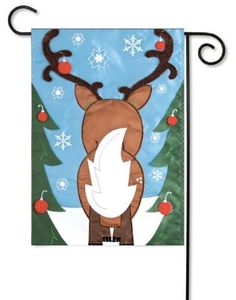 "Santa's Helper Reindeer Christmas Garden Flag by Evergreen. $7.95. Approximately dimensions are 12.5"" x 18"". Soft, high-quality nylon fabric. Fade-resistant colors. Hand-crafted. Flags are the greeting card of your home! Add a piece of colorful and welcoming décor to your outdoor setting with one of these flags. Made of durable materials, the vibrant colors in this flag will last for years to come."