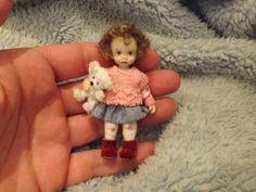 Miniature handmade MINI BABY GIRL TODDLER CHILD ooak DOLLHOUSE ARTIST ART DOLL