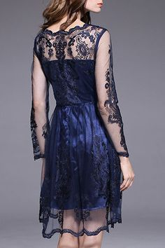 $94.99 Navy Blue Gauze Dress products_id:(1000012964 or 1000012328 or 1000012645 or 1000012380)