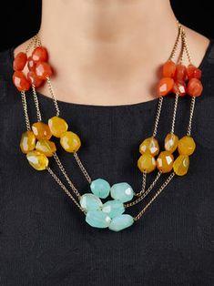 Multicolor Handcrafted Semi Precious Stones Cocktail Necklace