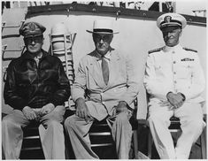 Franklin D. Roosevelt, General MacArthur, and Admiral Nimitz in Pearl Harbor, Hawaii
