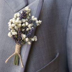 Lavender Twist Baby's Breath Buttonholes Set of 4