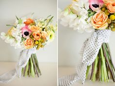 Spring bouquet wrapped in a polka dot scarf. www.bloomsandblossomsfloral.com