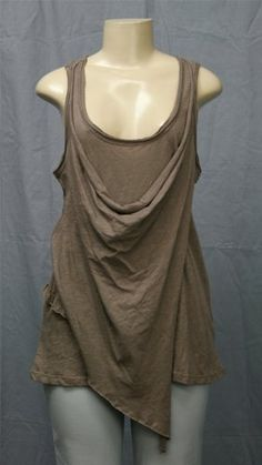 $39.95!! New GIBSON Top Sz M Draping Lagenlook Rolled-edge Slvless Taupe Beige 138 Retl | eBay