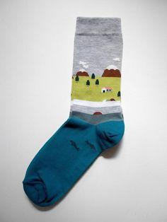 Grey Lake House print sock - FEAT. sock co.