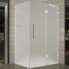 """Aston Avalux GS 38"""" x 36"""" x 72"""" Completely Frameless Hinged Shower Enclosure with Shelves, Frosted Glass Finish:"""
