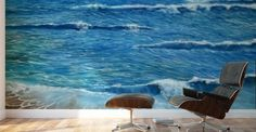 Mural Print,  interior,decor,decoration,wall,art,room,design,modern,cool,unique,artistic,beautiful,painting,blue,coastal,seascape,ocean,waves,beach,sandy,shore,saltwater,big