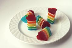 Rainbow Jell-o Hearts