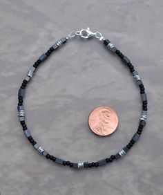 Black Silver and Gray Hematite Anklet by JewelryArtByGail on Etsy