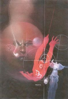 Bill Sienkiewicz: Daredevil Love and War Comic Book Artists, Comic Artist, Comic Books Art, Marvel Comics, Marvel Art, Frank Miller Art, Best Superhero, Superhero Images, Book Images