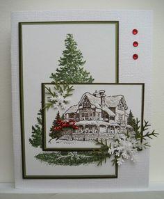 Linda Fisher's card using Christmas Lodge stamp set from SU's 2011 Holiday Mini catalog.
