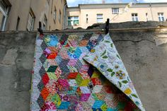 Scrappy Tumbling Blocks Quilt by berlinquilter on Flickr.