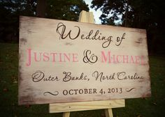 One of a group of signs I just finished for a beach wedding with a vintage, rustic theme. www.wordsxdesign.com #handpainted #wedding #signs #vintage