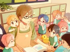 Free! - Look at all the cuties and Makoto is the teacher!