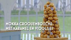 Heel Holland Bakt: Mokka croquembouche met karamel en viooltjes