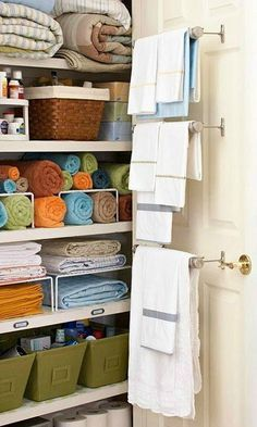 Once you check out this beautifully organized closet, you're sure to agree that there's no better feeling than a tidy linen closet! Check out these storage ideas for inspiration on how to get your towels and extra bedding in order.