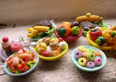 Food glorious food! 1:12 scale polymer clay dishes, sweet and savoury. Handmade by me