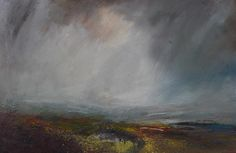 Kristan Baggaley Rain Across Burbage Moor. Mixed Media on Canvas