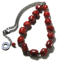 Natural red coral nuggets necklace with stainless steel bicone spacers,chain & clasp Length + extender chain Natural red coral nuggets: long, wide Chain, spacers & clasp: stainless steel - no tarnish Handmade Jewelry, Unique Jewelry, Handmade Gifts, Red Coral, Easy Wear, Beaded Necklace, Stainless Steel, Chain, Trending Outfits