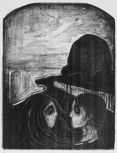 Tiltrekning I (Attraction I) planographic lithograph by Edvard Munch, 1896