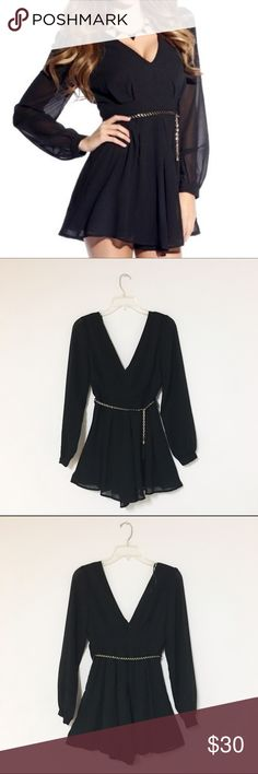 Tassel gold chain flared flowing black romper Flirty blk romper with sheer long sleeves and flared flowing bottom. Decorated with gold metal chain tassel around the waist. Fully lined & Back zipper closure.  NEW in package  ✅avail sz S Pants Jumpsuits & Rompers