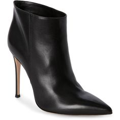 Gianvito Rossi Black Ankle Booties ($250) ❤ liked on Polyvore featuring shoes, boots, ankle booties, black, high heel booties, black leather booties, black boots, black leather boots and slip on boots