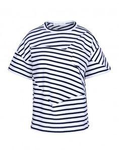 Sacai Luck Warped Striped Jersey T-Shirt