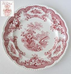 "Antique Red Chinoiserie Transferware Plate 10"" Jardiniere Ship Sailboat Flowers Roses"