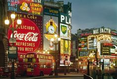 Piccadilly Circus, London, mid-1960s.  Photograph from London: Portrait of a City.