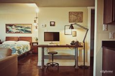desk and floor lamp | Salt Lake City Condo & Lofts for Sale | The Broadway Towers-14