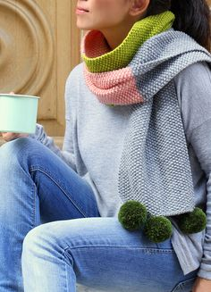 Knitting Patterns Scarf cafenoHut: Colour block scarf with pompoms in peach, olive & grey - pattern is in Mollie Makes Issue. Knitted Shawls, Crochet Scarves, Crochet Shawl, Knit Crochet, Knitting Scarves, Loom Knitting, Knitting Patterns Free, Free Knitting, Pompom Scarf
