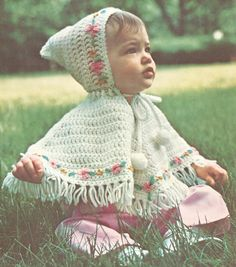 Precious vintage  Baby Poncho with Hood Crochet Pattern PDF