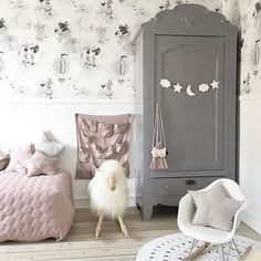 Dusty pink and grey, a sophisticated approach to girly. #estella #kids #decor